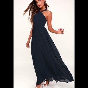 Make Offer! NWT Lulus Navy georgette Maxi dress Lg